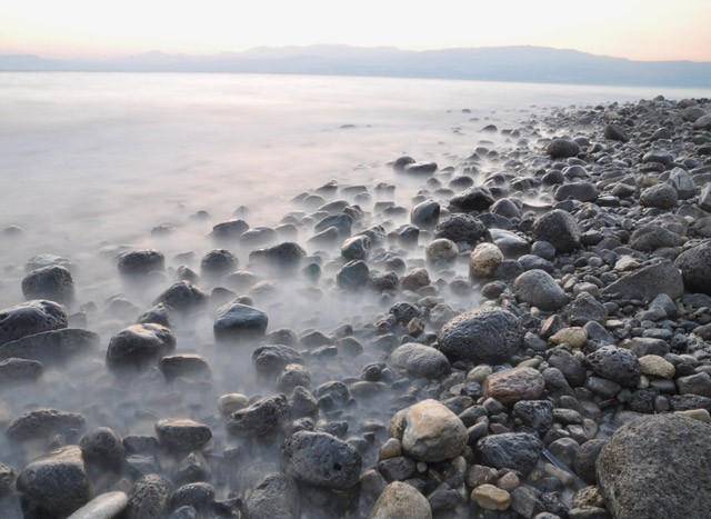 The Rocky Basalt Shore of the Sea of Galilee cc