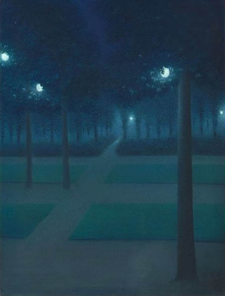 William Degouve de Nuncques Nocturne au Parc Royal de Bruxelles 1897 pastel on paper