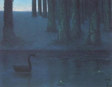 William Degouve de Nuncques The Black Swan, pastel 1896