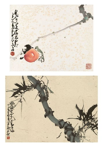 Zhao Shaoang Praying Mantis on Loquat Bamboo two scrolls, ink and color on paper