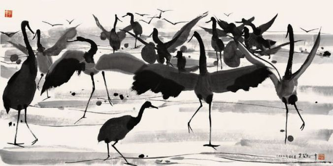Wu Guanzhong Crane Dance 2002 ink and wash