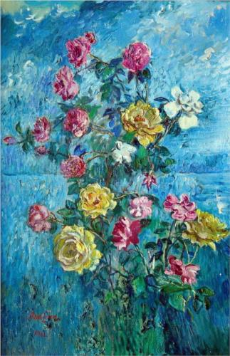 David Burliuk Roses with Blue Background, 1960