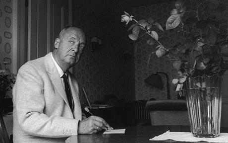 Vladimir Nabokov writing draft on index cards with Blackwing Pencil getty image
