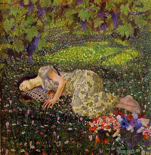 Felice Casorati, Il sogno del melograno The Dream of the Pomegranate 1912 oil on canvas