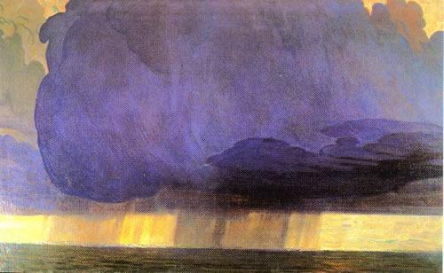Galileo Chini Le Typhon Aquarelle 1911