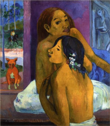 Paul Gauguin two-women-flowered-hair-1902 oil on canvas