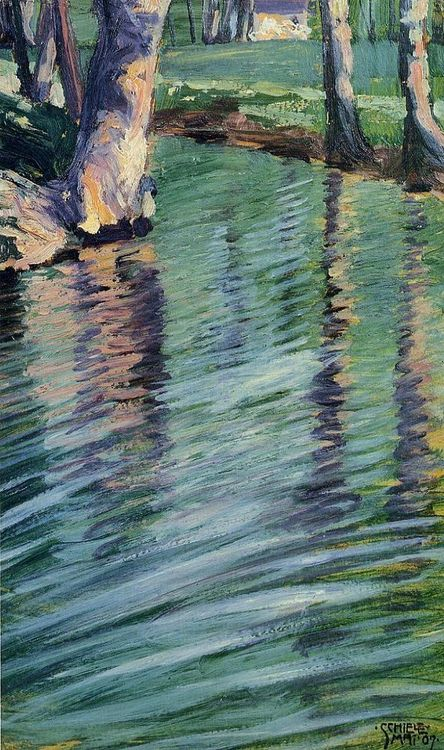 Egon Schiele Trees Mirrored in a Pond 1907
