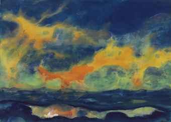 Emil Nolde Autumn Sky at Sea ca1940 watercolor on Japan paper