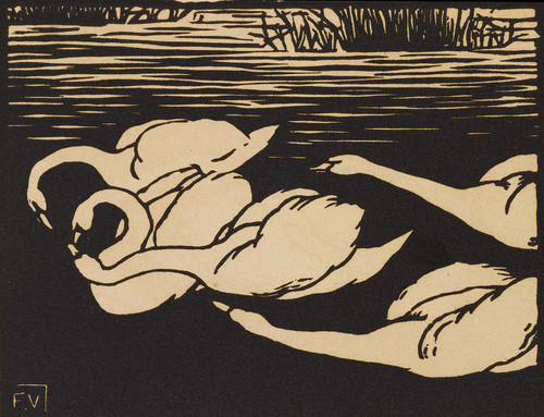 """Les Cygnes"" (1892, woodcut on wove paper)"