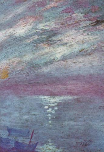 Salvador Dali Moonlight over the Bay at Cadaques c1920