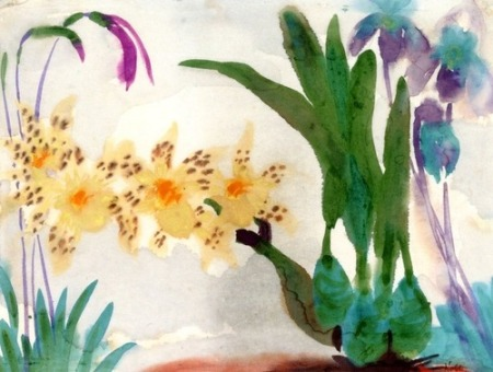Emil Nolde Flower Still Life with Orchids c1923-24 watercolor