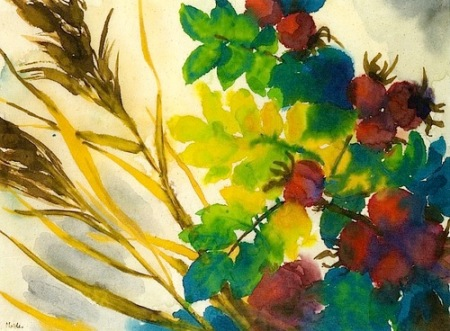 Emil Nolde Red Hawthorns with Green an dYellow Leaves and Brown Grass c1930