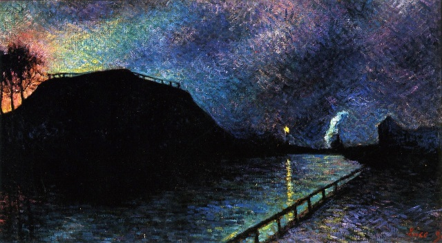 Maximilien Luce 1896 oil on canvas Moonlight on Charleroi Canal