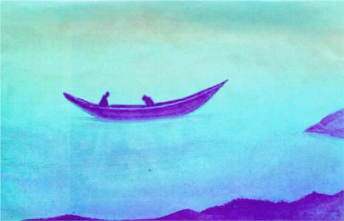 Nicholas Roerich Sadness paren Two in a Boat 1939 tempera on canvas