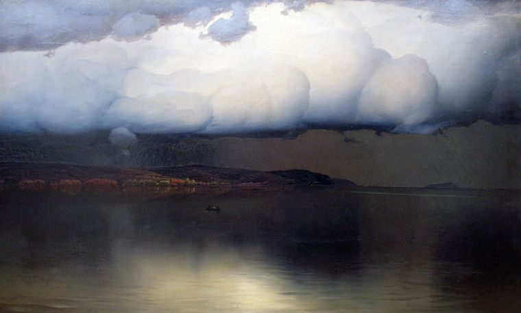 Nikolay Nikanorovich Dubovskoy Silence has Settled 1890 drohende Stille oil on canvas