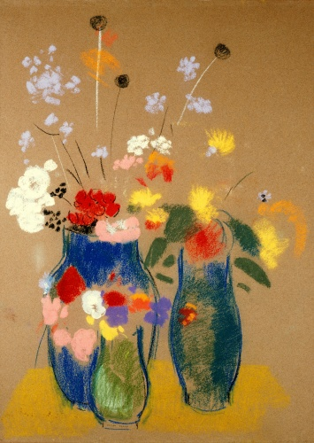Odilon Redon Three Vases of Flowers  1908-1910 oil