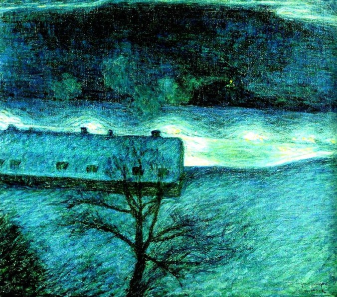 Eugene Fredrik Jansson Vinternatt over Kajen Winter Night on the Quai 1901 oil on canvas
