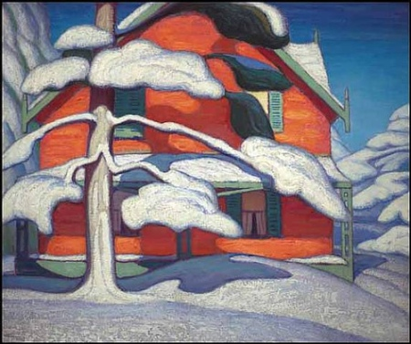 Lawren Harris, Pine Tree and Red House, Winter, City Painting II 1924