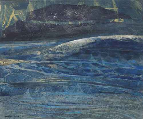 Michael Ayrton Wave 1968 oil and mixed media collage on canvas