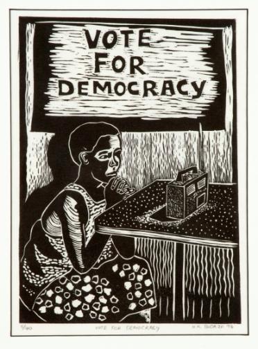 Vote for Democracy by Hamilton Budaza 1994 ink on paper