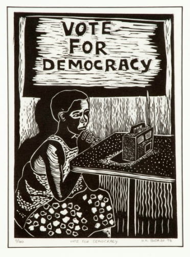 Vote for Democracy by Hamilton Budaza 1994 ink on paper