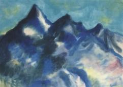 """Landschaft mit Bergen Matterhorn"" (c1938-41, watercolor on Japan paper)"
