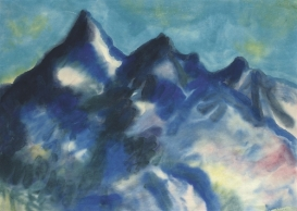 """Landschaft mit Bergen Matterhorn"" (c1938-41, watercolor on Japan paper)"