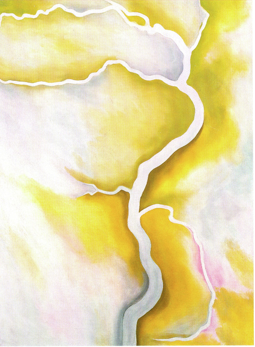 Georgia O'Keeffe From the River - Pale oil on canvas 1959