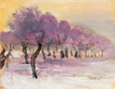 Janos Tornyai Winter Landsape with Violet Lights