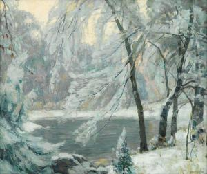 John Fabian Carlson River in Winter oil on canvas nd