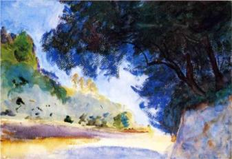 """Landscape, Olive Trees, Corfu (1909, watercolor), by John Singer Sargent"