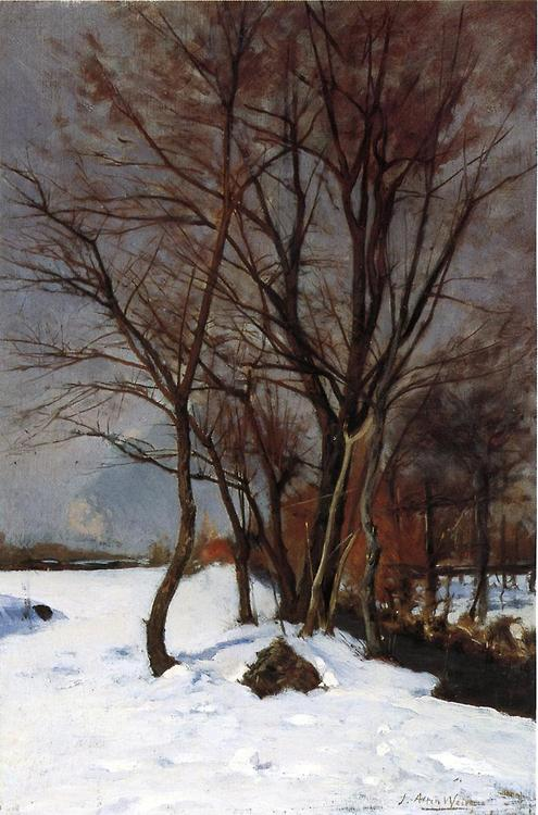 Julian Alden Weir WInter Landscape with Stream 1888 oil on canvas