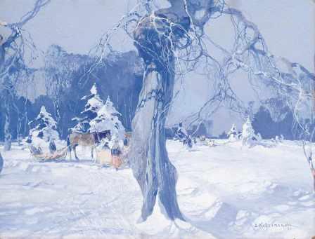 Stepan Kolesnikoff Winter gouache on cardboard