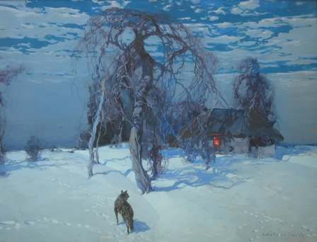 Stepan Kolesnikoff Wolf in a Winter Landscape tempera on paper