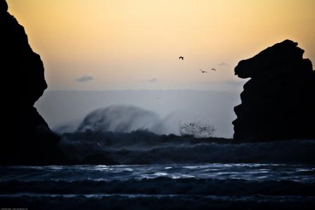 Pillar Rock and Big Waves at Sunset Morro Bay, CA 19 Jan 2010