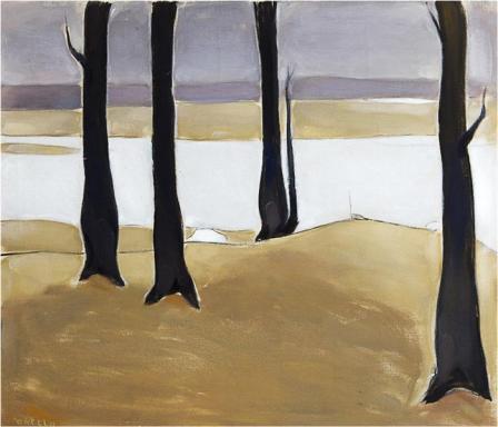 Einar Reuter paren H Ahtela Autumn Landscape oil on canvas 1957