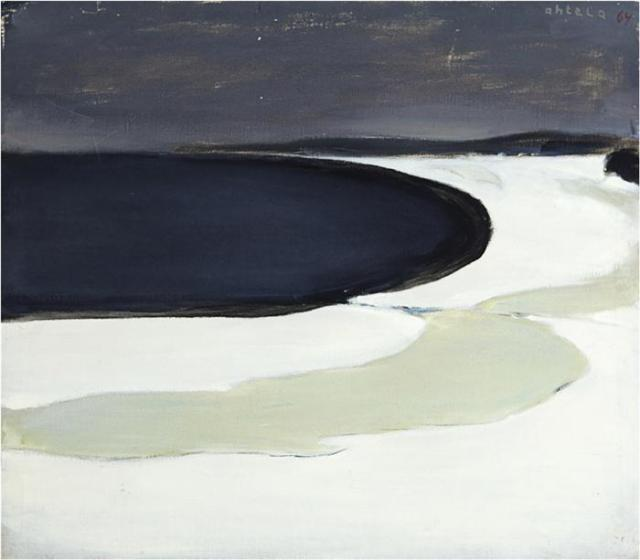 Einar Reuter paren H Ahtela Frozen Lake Shore 1964 oil on canvas