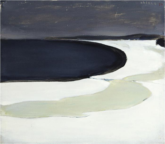 Einar Reuter paren H Ahtela Frozen Lake Shore 1964 oil on canvas
