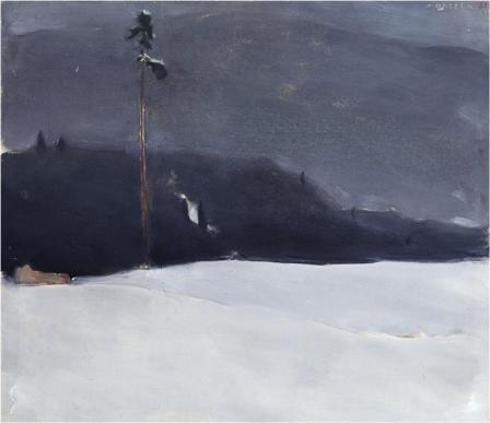 Einar Reuter Pine in Winter Haze oil on canvas 1961