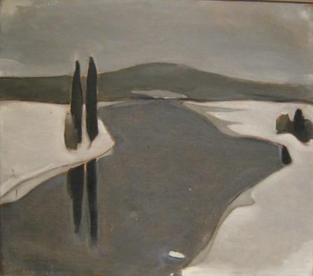 Einer Reuter paren H Ahtela The River Freezes oil on canvas