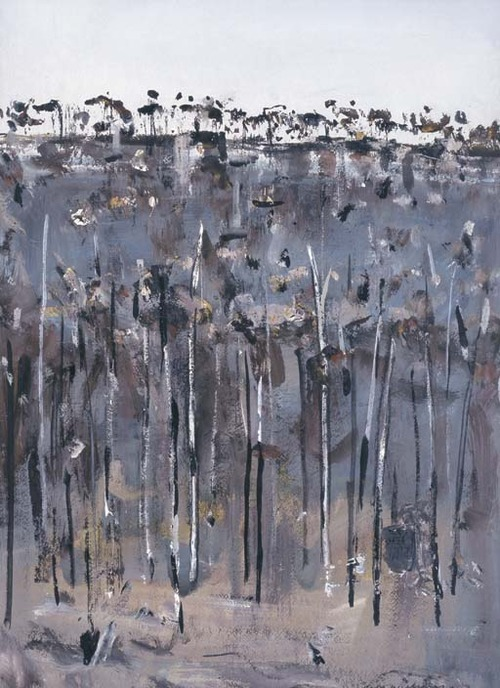 Fred Williams Charred Wooded Hillside, watercolour and gouache nd