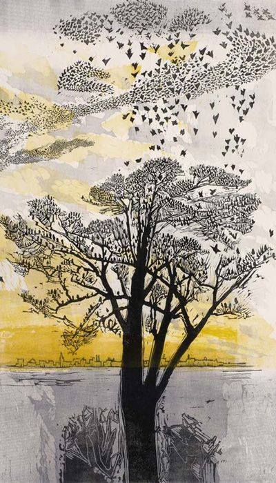 Gertrude Hermes, Starlings 1965, woodcut on wove