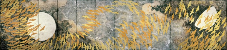 Kayama Matazo A Thousand Cranes 1970 color on silk, pair of six-folded screens