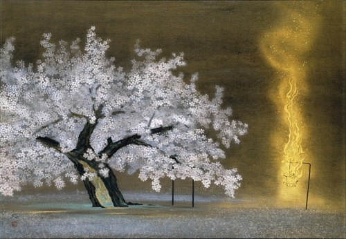 Kayama Matazo Going to see cherry blossoms at night 1982