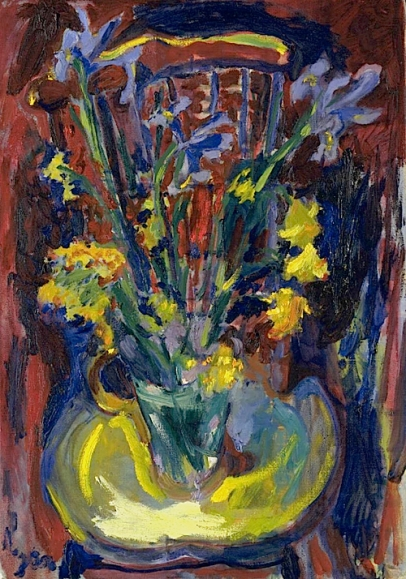 """Flowers on a Chair"" (1958, oil on canvas) by Adrian Ryan"