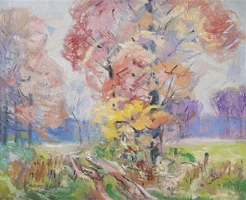 """Pink and Yellow Tree"" (nd, oil on canvas) by Albert Henry Krehbiel"