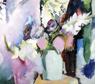 """""""Still Life with Pansies and Gladiolas"""" (nd, oil on canvas) by Arthur B. Carles"""