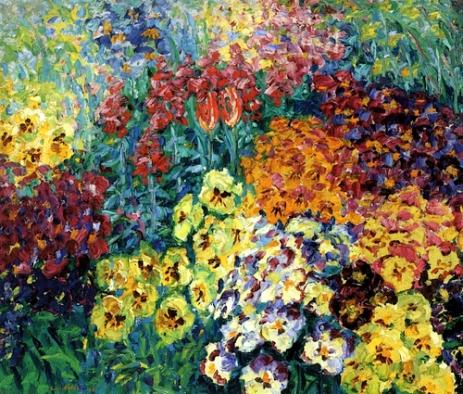 """Flower Garden, Pansies"" (1908, oil on canvas) by Emil Nolde"