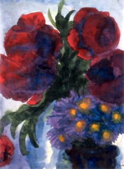 """Poppies and Violet Asters"" (nd, watercolor) by Emil Nolde"
