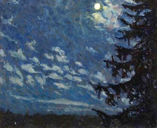 Evald Kallstenius Fir in Moonlight c1930 oil on canvas